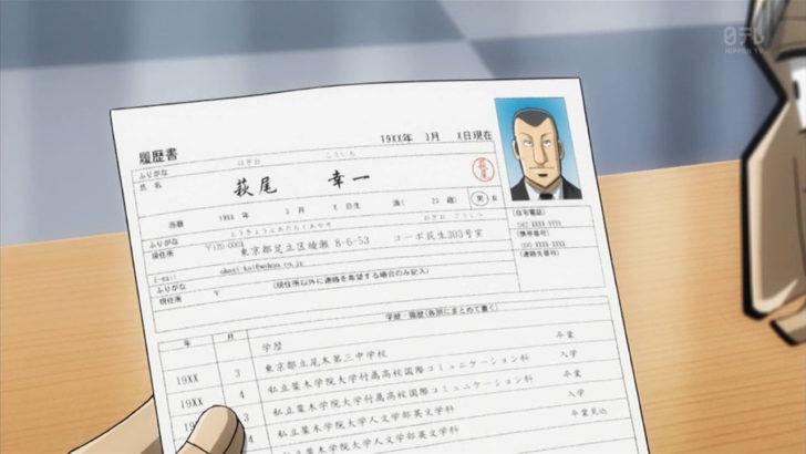 中間管理録トネガワ 萩尾幸一 19XX年3月 履歴書