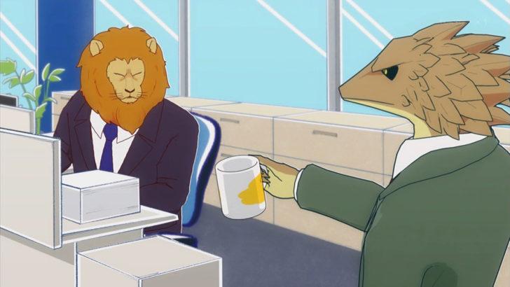 アフリカのサラリーマン コーヒーを頼むライオン