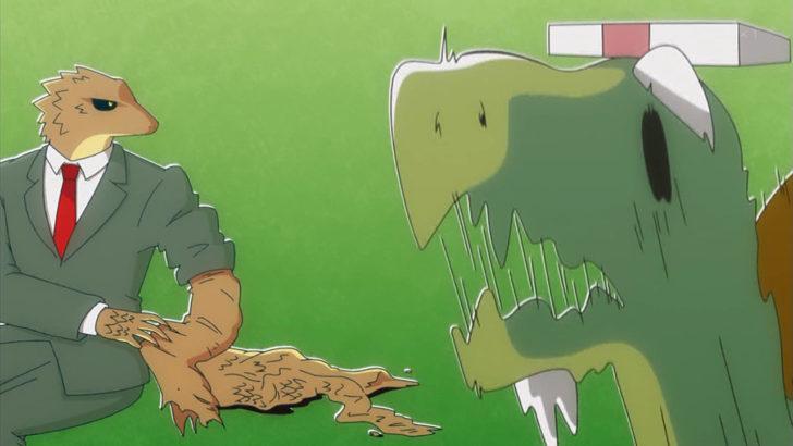 アフリカのサラリーマン 脱皮してるトカゲに驚くカメ社長