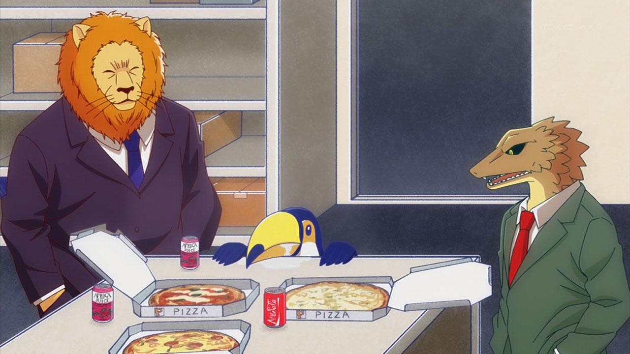 アフリカのサラリーマン 机の上のピザを囲むライオンたち