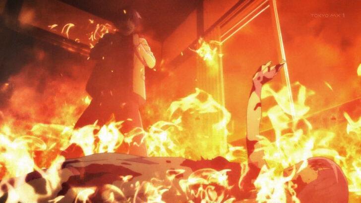 ひぐらしのなく頃に 業 古手梨花を刺したあと火を放つ赤坂衛 寄生虫の駆除